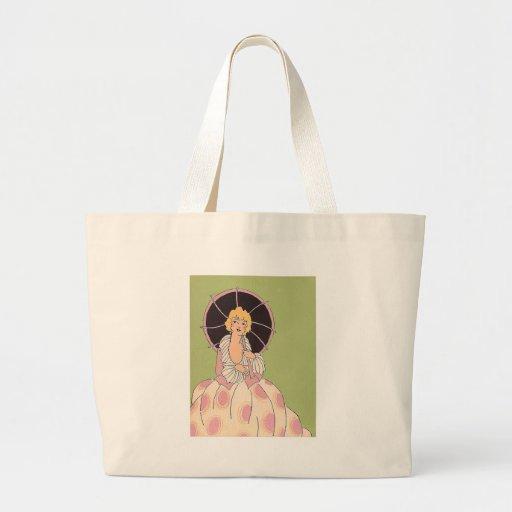 Vintage Girl with Parasol Canvas Bag