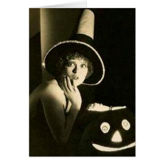 Vintage  Girl with Pumpkin Halloween Greeting Card