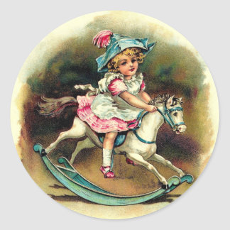 Vintage Girl with Rocking Horse Classic Round Sticker