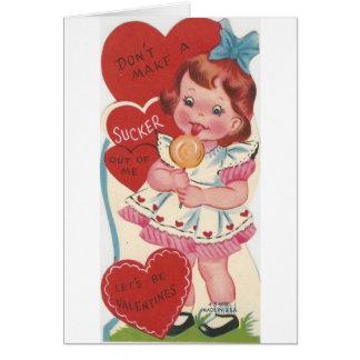 Vintage Girl With Sucker Valentine Card