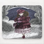 Vintage Girl With Umbrella In Snow Storm Mouse Pads
