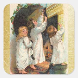 Vintage Girls Hanging Christmas Stockings Sticker