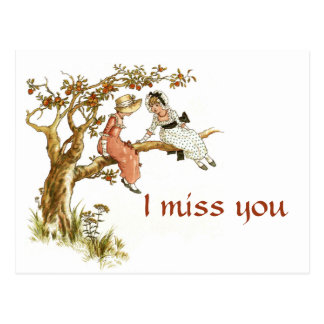 Vintage Girls I Miss You Postcard