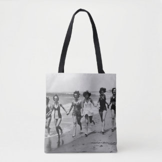 Vintage Girls Running On The Beach Tote Bag