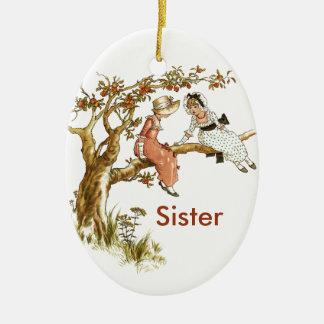 Vintage Girls Sisters Ceramic Oval Ornament