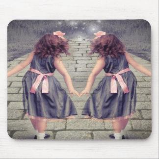 vintage girls twins alice in wonderland fashion mouse pad