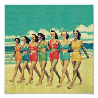 Vintage Girls walking down the beach Poster