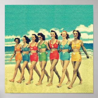 Vintage Girls walking down the beach Posters