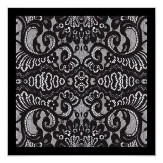 vintage girly black floral boho chic lace poster