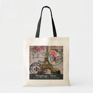 vintage girly eiffel tower paris fashion business budget tote bag