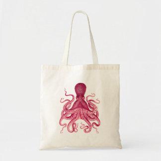 Vintage Girly Pink Octopus Illustration Budget Tote Bag