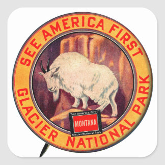 Vintage Glacier National Park See America First Square Stickers