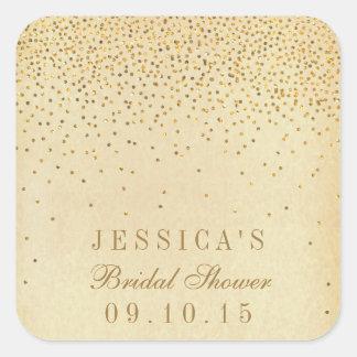 Vintage Glam Gold Confetti Bridal Shower Stickers Square Sticker