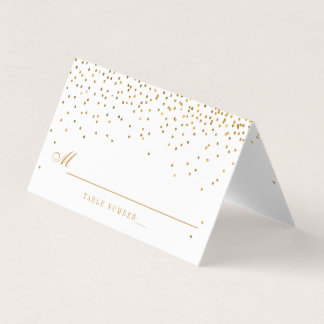 Vintage Glam Gold Confetti White Wedding Place Card
