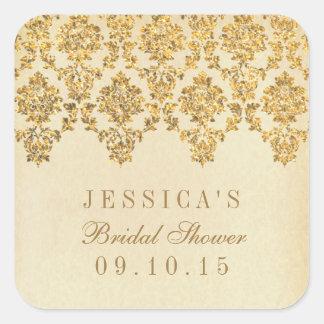 Vintage Glam Gold Damask Bridal Shower Stickers