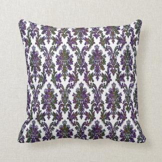 Vintage Glam Purple Blue Green Gold Damask Pillow