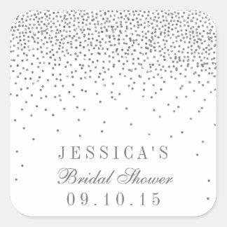 Vintage Glam Silver Confetti Bridal Shower Square Sticker