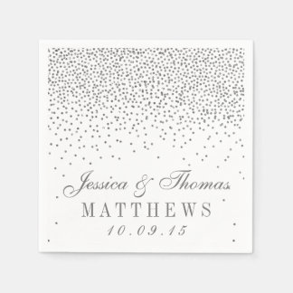 Vintage Glam Silver Confetti Wedding Collection Disposable Napkin