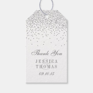 Vintage Glam Silver Confetti Wedding Gift Tags