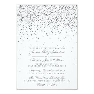 Vintage Glam Silver Confetti Wedding Invitations