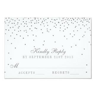 Vintage Glam Silver Confetti Wedding RSVP Cards 9 Cm X 13 Cm Invitation Card
