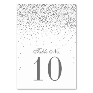 Vintage Glam Silver Confetti Wedding Table Number Table Cards