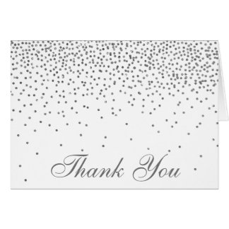 Vintage Glam Silver Confetti Wedding Thank You Note Card