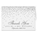 Vintage Glam Silver Confetti Wedding Thank You Note Card