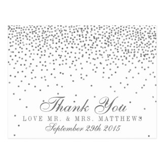 Vintage Glam Silver Confetti Wedding Thank You Postcard