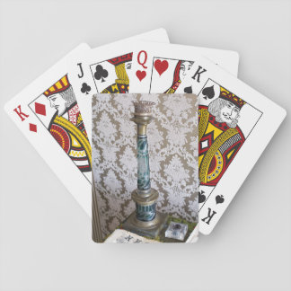 Vintage glass candleholder playing cards