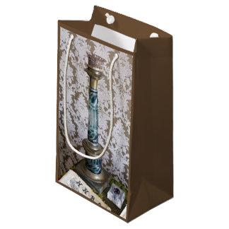 Vintage glass candleholder small gift bag