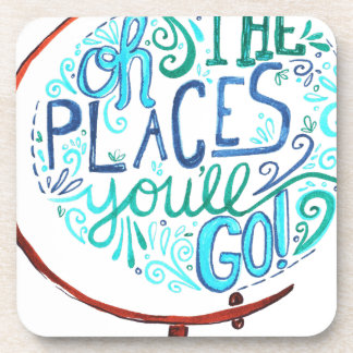 Vintage Globe - Oh The Places You'll Go Coaster