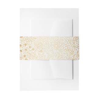 vintage gold and white floral wedding invitation belly band