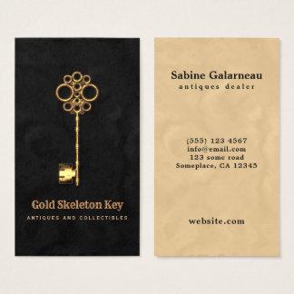Vintage Gold Antique Skeleton Key Antiques Dealer Business Card