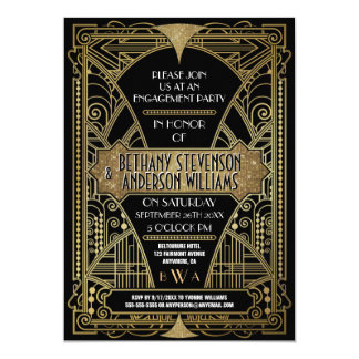 Vintage Gold Art Deco Engagement Party Invitations