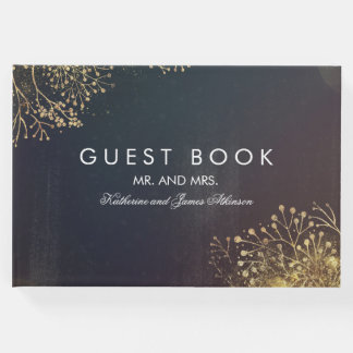 Vintage Gold Baby's Breath Wedding Guest Book