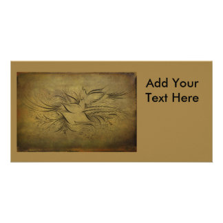 Vintage Gold Birds Line Drawings Customised Photo Card