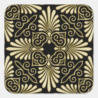 Vintage Gold Black Damask Art Deco Fan Square Sticker