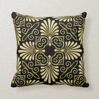 Vintage Gold Black Damask Art Deco Fan Throw Pillow