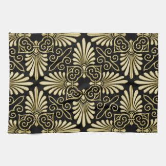 Vintage Gold Black Damask Art Deco Fan Towel