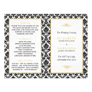 Vintage Gold, Black & White Damask Wedding Program 21.5 Cm X 28 Cm Flyer