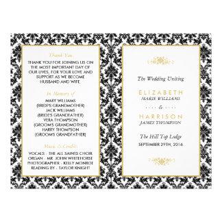 Vintage Gold, Black & White Damask Wedding Program Flyer