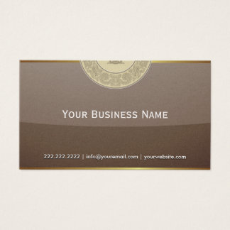 Vintage Gold Border Brown Glass Business Card