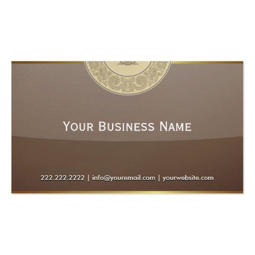 Vintage Gold Border Brown Glass Business Card