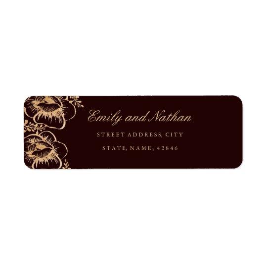 Vintage Gold Burgundy Floral Return Address Label