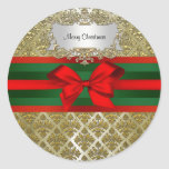 Vintage Gold Champagne Damask Red Green Ribbn Xmas Round Sticker