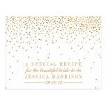 Vintage Gold Confetti Bridal Shower Recipe Cards Postcard