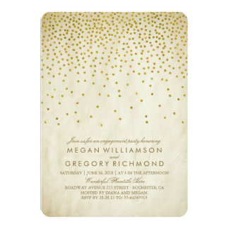 Vintage Gold Confetti Engagement Party Card