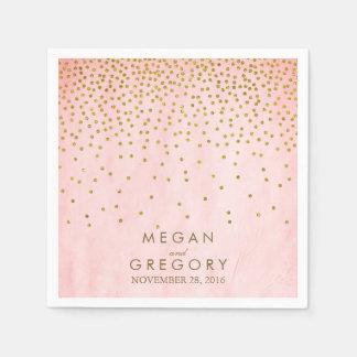 Vintage Gold Confetti Pink Paper Napkin