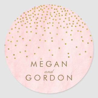 Vintage Gold Confetti Pink Wedding Round Sticker